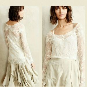 Beautiful Everleigh, Anthropologie sheer lace top